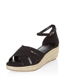 Black Suedette Cross Strap Ankle Strap Flatform Espadrilles  | New Look
