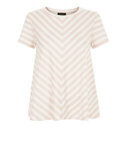 Pink Stripe Swing T-Shirt  | New Look