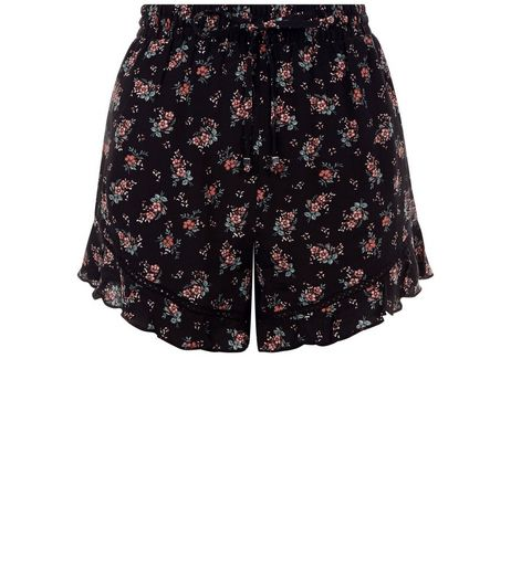 Black Floral Print Frill Hem Shorts  | New Look