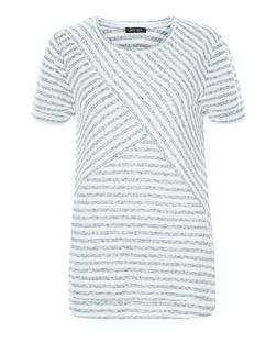 Blue Contrast Stripe Print T-Shirt  | New Look