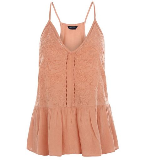 Coral Embroidered Trim Peplum Cami  | New Look