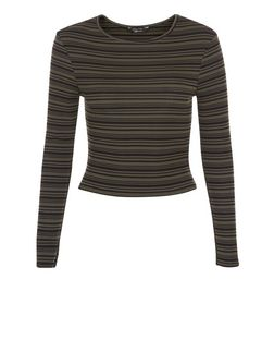 Teens Black Stripe Ribbed Long Sleeve Top  | New Look