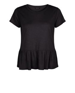 Black Oversized Peplum T-Shirt  | New Look