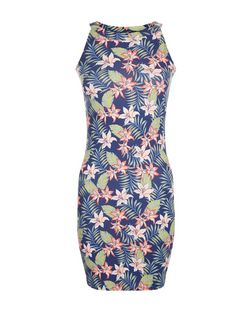 Teens Blue Tropical Print High Neck Dress | New Look