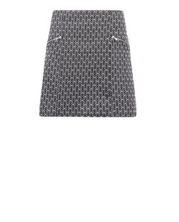 Tall Black Tile Print Jacquard Skirt  | New Look