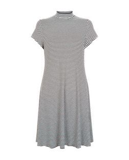 Tall Black Stripe Funnel Neck Swing Dress  | New Look