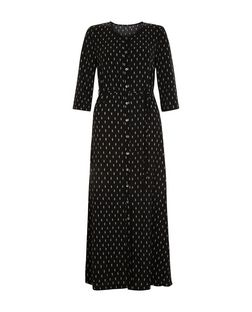 Love & Lies Black Feather Print Maxi Shirt Dress | New Look