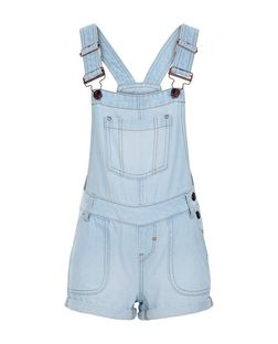 Girls Blue Bleach Wash Short Dungarees | New Look