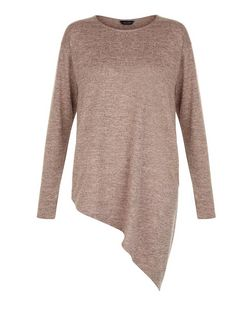 Mid Pink Fine Knit Asymmetric Long Sleeve Top  | New Look
