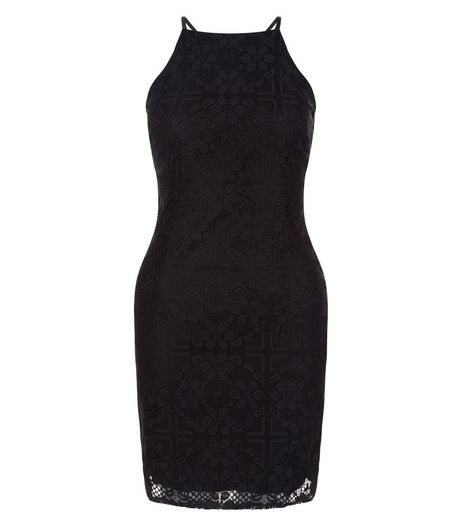 Petite Black Lace Strappy Bodycon Dress  | New Look