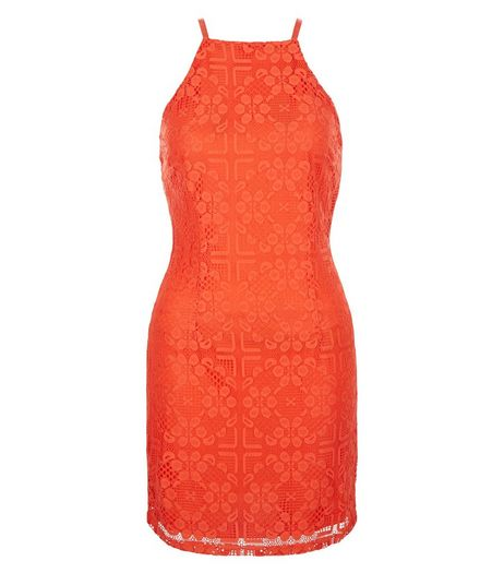 Petite Orange Lace Strappy Bodycon Dress  | New Look