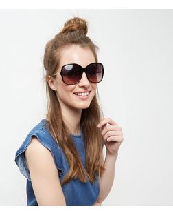 Black Chain Side Sunglasses | New Look