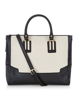 Black Canvas Colour Block Tote Bag  | New Look