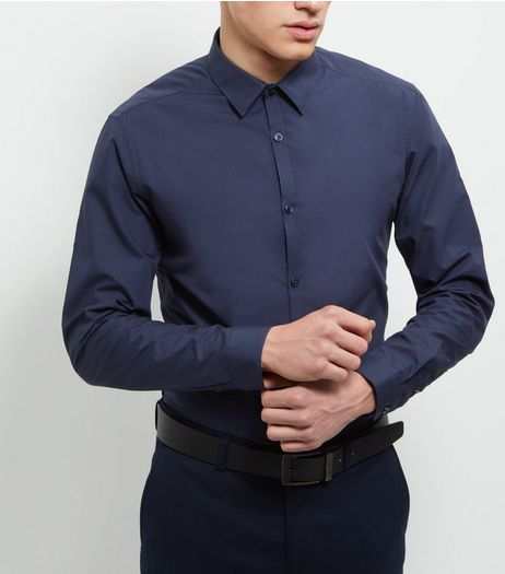 Navy Cotton Mix Long Sleeve Shirt | New Look