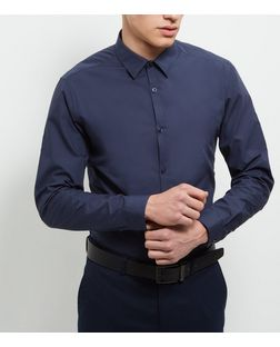 Navy Long Sleeve Shirt | New Look