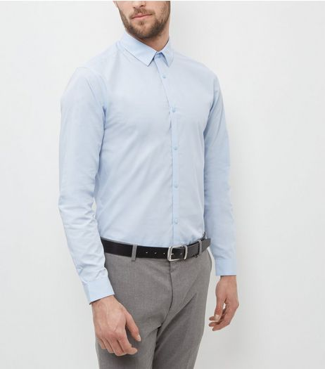 Pale Blue Long Sleeve Shirt  | New Look