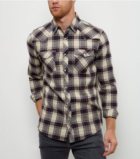 Cream Check Long Sleeve Shirt | New Look