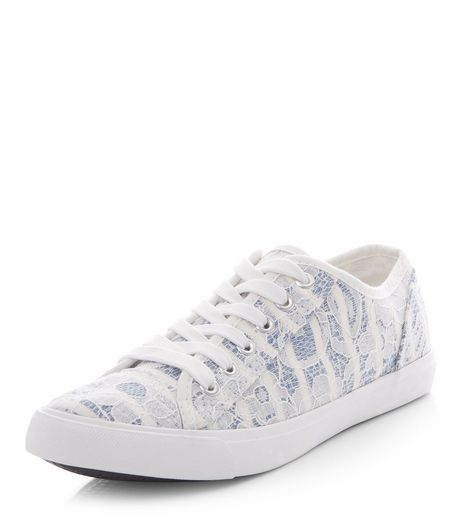 Teens Blue Lace Stripe Lace Up Plimsolls | New Look