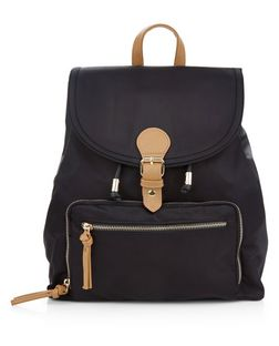 Black Contrast Nylon Backpack  | New Look