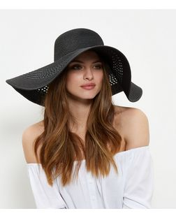Black Woven Oversized Floppy Hat  | New Look