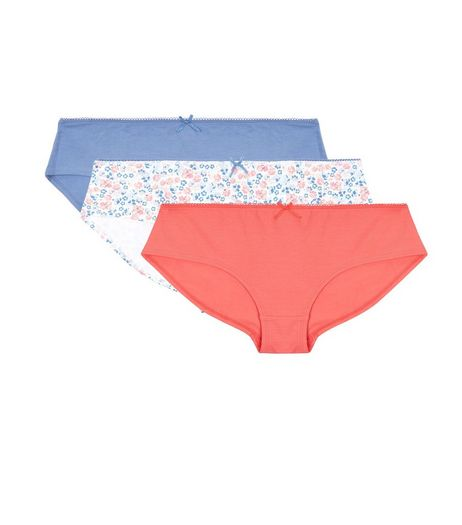 Teens 3 Pack Pink White and Blue Floral Print Briefs | New Look