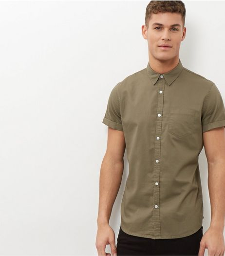 Olive Green Single Pocket Short Sleeve Shirt  | New Look