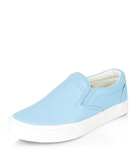 Teens Blue Leather-Look Textured Slip On Plimsolls | New Look
