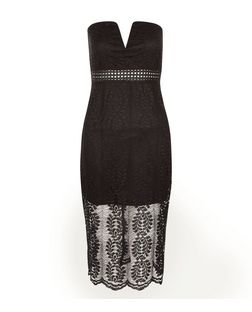 Love & Lies Black Lace Bandeau Dress | New Look