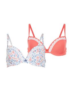 Teens 2 Pack Pink and White Floral Print Underwired Bras | New Look