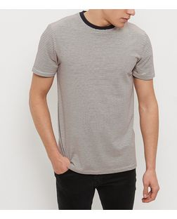 Brown Stripe Contrast Neck T-Shirt | New Look