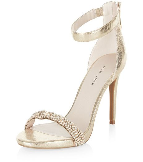 Gold Embellished Strap Heeled Sandals | New Look