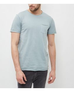 Light Green Washed Single Pocket Crew Neck T-Shirt  | New Look