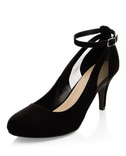 Black Suedette Mesh Panel Ankle Strap Court Shoes  | New Look