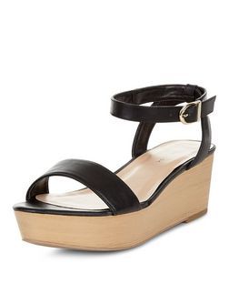 Black Ankle Strap Flatform Sandals  | New Look