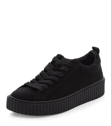 Black Lace Up Creeper Plimsolls | New Look
