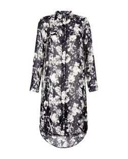 Blue Vanilla Navy Floral Print Shirt Dress  | New Look