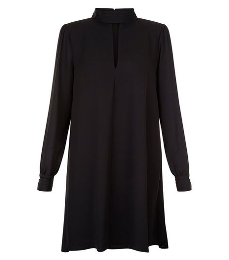 Blue Vanilla Black Funnel Neck Keyhole Shirt Dress | New Look
