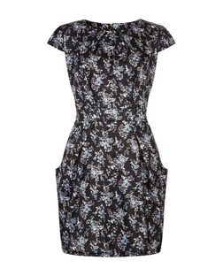 Blue Vanilla Black Floral Print Tie Back Dress | New Look