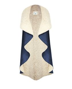 Blue Vanilla Navy Faux Shearling Sleeveless Jacket  | New Look