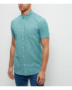 Mint Green Textured Single Pocket Roll Sleeve Slub Shirt  | New Look