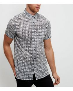 Black Tile Print Short Sleeve Shirt | New Look