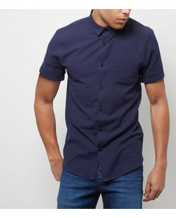 Navy Single Pocket Roll Sleeve Shirt  | New Look