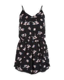 Black Floral Print Crochet Trim Playsuit  | New Look