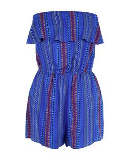 Blue Aztec Print Frill Trim Playsuit  | New Look