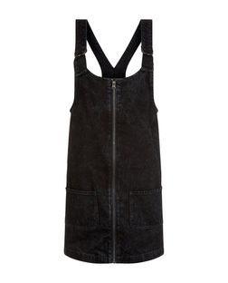 Black Denim Zip Front Pinafore Dress  | New Look