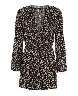 Black Ditsy Floral Print Tie Front Bell Sleeve Playsuit  | New Look