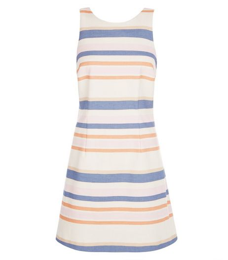 Cream Stripe Sleeveless Tunic Dress  | New Look