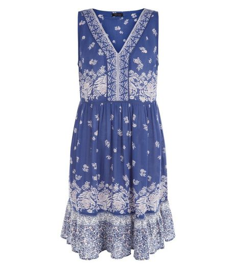 Blue Floral Print V Neck Sleeveless Dress | New Look