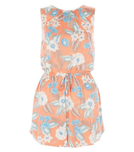 Pink Tropical Floral Print Wrap Back Playsuit  | New Look