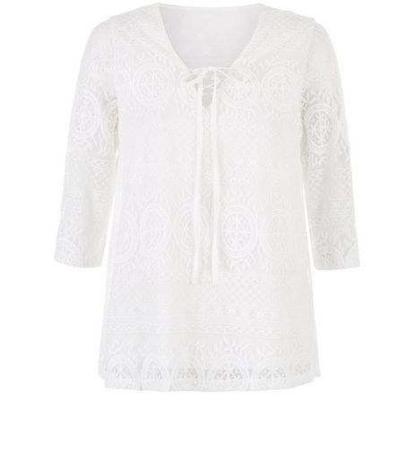 Anita and Green Cream Lace Tie Front Top | New Look